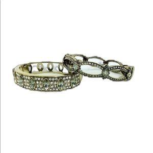 Heidi Daus 2 piece bracelet rhinestones set